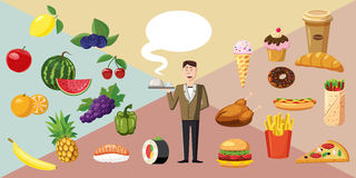 Food horizontal banner waiter, cartoon style Royalty Free Stock Photography