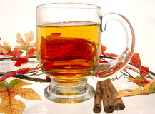 Food: Hot Apple Cider. Glass mug of hot apple cider surrounded by fall decorations and cinnamon sticks Royalty Free Stock Photo