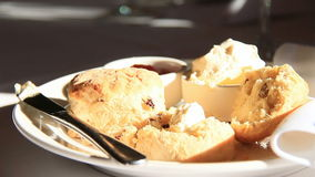 Food Hot Scones with Cream & Jam. Served for morning tea stock video
