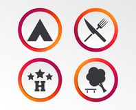 Food, hotel, camping tent and tree signs. Food, hotel, camping tent and tree icons. Knife and fork. Break down tree. Road signs. Infographic design buttons Royalty Free Stock Photo