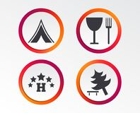 Food, hotel, camping tent and tree signs. Food, hotel, camping tent and tree icons. Wineglass and fork. Break down tree. Road signs. Infographic design buttons Stock Image