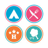 Food, hotel, camping tent and tree signs. Food, hotel, camping tent and tree icons. Knife and fork. Break down tree. Road signs. Colored circle buttons. Vector Stock Images
