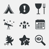 Food, hotel, camping tent and tree signs. Food, hotel, camping tent and tree icons. Wineglass and fork. Break down tree. Road signs. Attention, investigate and Royalty Free Stock Image