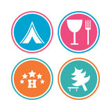 Food, hotel, camping tent and tree signs. Food, hotel, camping tent and tree icons. Wineglass and fork. Break down tree. Road signs. Colored circle buttons Royalty Free Stock Photography