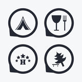 Food, hotel, camping tent and tree signs. Royalty Free Stock Photo