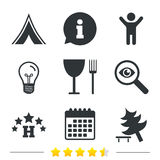 Food, hotel, camping tent and tree signs. Food, hotel, camping tent and tree icons. Wineglass and fork. Break down tree. Road signs. Information, light bulb and Stock Image