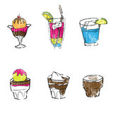 Food icecreams and drinks Stock Images