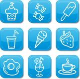 Food icon blue set Stock Photo