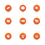 Food icon buttons. Orange Food icon buttons -  illustration Royalty Free Stock Photography