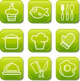 Food icon buttons glossy set Stock Image