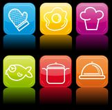 Food icon buttons glossy set. Illustration for a design Royalty Free Stock Images