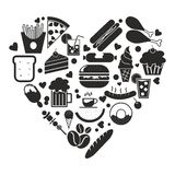 Food icon in heart shape vector Royalty Free Stock Image