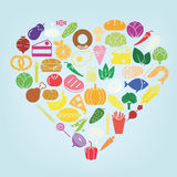 Food icon heart Royalty Free Stock Images