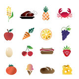 Food icon set. Set of various food items isolated in white Stock Photo