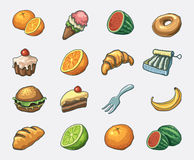 Food icon set. Hand drawn  icon set Royalty Free Stock Photography