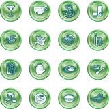 Food Icon Set. A set of food and drink icons. No meshes used Royalty Free Stock Photo