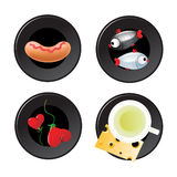 Food icon set. Different food as sausage, fishes, hearts and green tea with cheese are on black plates icon set Royalty Free Stock Photo