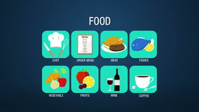 Food icon set animation, chef,order menu, meat, fishes, vegetable, fruit, wine, coffee stock video