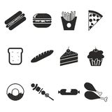 Food icon set. In black Stock Images