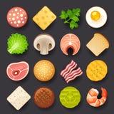 Food icon set. On black background Royalty Free Stock Image