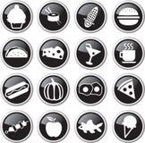Food icon set. Black round food related icon set Stock Image