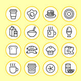 Food icon set - breakfast. Royalty Free Stock Images