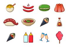 Food icon set, cartoon style. Food icon set. Cartoon set of food vector icons for web design isolated on white background Stock Photos