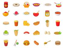 Food icon set, cartoon style. Food icon set. Cartoon set of food vector icons for your web design isolated on white background Stock Photography