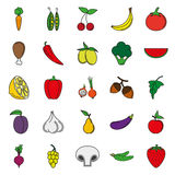 Food Icon set. Color vegetables and meat Stock Images