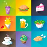 Food icon set on different colors background: hamburger, salade, beer, chicken, coffe, fries, cupcake, cake, can, with long shadow. Food icons big collection set Stock Photos