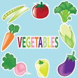 The collection cute and fresh of icons on vegetables cartoon illustation. Food icon set. Set of eight vegetables icons isolated on blue background with EPS royalty free illustration