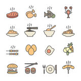 Food icon set, flat line color version, vector eps10 Royalty Free Stock Images
