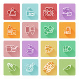 Food icon set. Great for restaurant or guides and similar. Including icons for burger, Chinese food, pizza, coffee and many more Royalty Free Stock Images