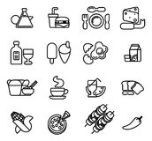 Food icon set. Food icon including icons for burger, cheese,  pizza, coffee and many more Royalty Free Stock Photos
