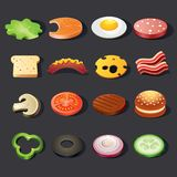 Food icon set. Isometric view Royalty Free Stock Photography