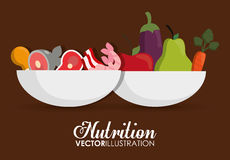 Food icon set. Nutrition and Organic design. Vector graphic Royalty Free Stock Images