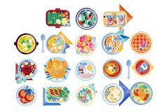 Food icon set. Plates with different dishes green salad, soup with boiled eggs, pancakes, sandwiches, fish with lemon vector illustration