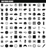 100 food icon set, simple style. 100 food icon set. Simple set of 100 food icons for web design isolated on white background stock illustration