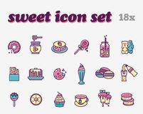 Food icon set. Sweetness. Sweet, bakery, chocolate and beverage icons Stock Photos