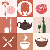 Food. Icon Set Stock Photos
