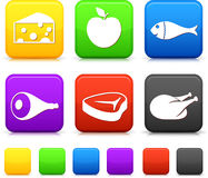 Food Icond on Square Internet Buttons Stock Photo