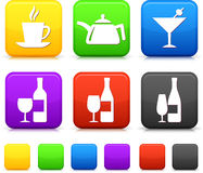 Food Icond on Square Internet Buttons Stock Photography