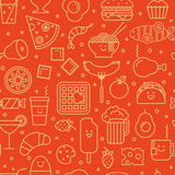 Food iconic seamless pattern. Fun vector background with line icons of different food like coffee, pizza, eggs, beer and ice cream. Seamless pattern Stock Photo