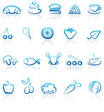 Food icons. Simple blue icons of food Stock Images