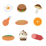 Food icons. Set of nine food icons isolated on white background.EPS file available Stock Photos