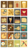 Food icons. Set of editable  icons of drinks and snacks Royalty Free Stock Photo
