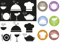 Food icons. Set of food icons in black and white and coloured Stock Photography