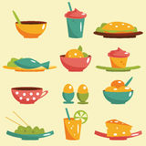 Food icons. Colorful Food icons, vector illustration Stock Photos