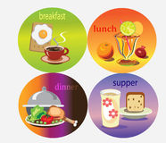Food icons. Different food icons with symbols ,objects of breakfast,lunch,dinner,supper on the rounds frames Royalty Free Stock Photography