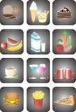 Food icons. A set of icons displaying food and drinks Royalty Free Stock Photo